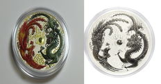 Australia - 2x 1 AUD dollar Lunar II rooster + phoenix and dragon 2 pieces each 1 oz - in noble colour edition