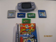 Nintendo Gameboy Advance incl 6 pokemon games. Emerald ,Sapphire, Leafgreen, Pokemon blue,silver and Pinnball