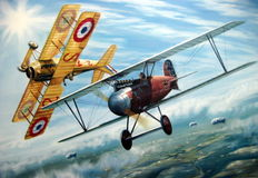 Fine Art Print - Ernst Udet and Georges Guynemer - Albatros DIII/Spad VII - WW 1 (Great Moments in Aviation)