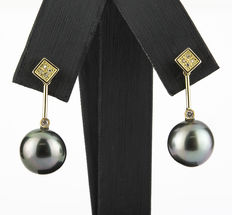 Yellow gold square stud earrings with brilliant-cut diamonds and Tahitian pearls
