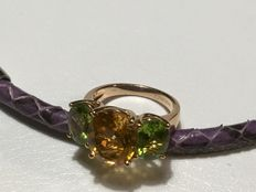 Fred Moes – Ring with citrine and peridot, 12 ct in total