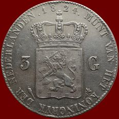 Netherlands - 3 Guilders 1824 (with small bar) William I - Silver