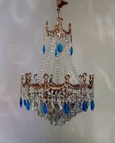 Brass and crystal chandelier, recently manufactured from used materials