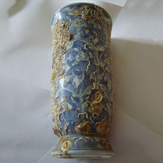 Chinese blue and white large deep beaker without cover with hallmark - 210 mm