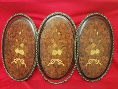 3x inlaid oval pictures made of briar, with bronze frames - 20th C