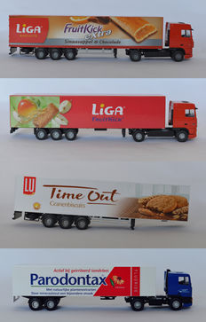 Lion Toys - Scale 1/50 - Lot with 4x DAF: DAF XF Liga Fruitkick, DAF 95XF Liga Fruitkick, DAF95 400 Parodontax Sensodyne F and Trailer LU Time Out