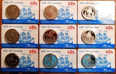 Netherlands - Medals 'Sail Amsterdam 2015' (9 pieces) in Coincards