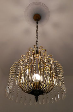 Neoclassic deco chandelier, brass frame, Bohemian glass decorations - Italy 1900