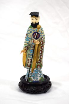 Cloisonné of a dignitary – China, mid-20th century