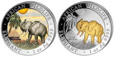 Somalia - 2 x 1 oz 100 Shillings Somalia elephant 2017 - 2 pieces 999 silver coin each 100 shillings - day design colour edition + 24 carat gold edition