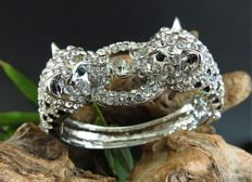 Kenneth Jay Lane - USA, 1991/2000 QVC, silver tone plated bracelet with 2 panthers