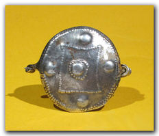 Celtic Silver Shield Brooch - 5.7 cm L max incl. pin