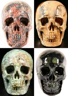 Set of various Mineral skulls - Leopard Jasper, Landscape Jasper, African Turquoise  and Kambaba Jasper - 50 to 53mm - 348gm (4)