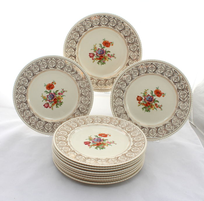 Simpsons Solian Ware - Set of 12 Vintage Semi-porcelain Dinner Plates with Dresden Flowers  sc 1 st  auctions - Catawiki & Simpsons Solian Ware - Set of 12 Vintage Semi-porcelain Dinner ...