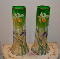 Legras Mont Joye - A pair of enamelled and gilded glass vases