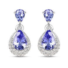 Gold earrings with tanzanites and diamonds Tanzanites of 1.140 ct and diamonds of 0.16 ct No reserve price, 14 kt / 585