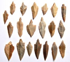 Lot with 20 Neolithic arrowheads from Niger - 29-52 mm (20)