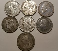 Europe - Lot of 7 coins (Italy, Spain, Serbia, Belgium, France, Bulgaria, Great Britain) 1868/1894 - Silver
