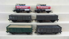"""Roco/Fleischmann H0 - 4337F/5206/1457 - Set with 6 open boxcars / tanker wagons """"Dubonnet""""  of the SNCF/SNCB/NMBS"""