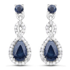Gold earrings with sapphire and diamonds, sapphire weighing 1.14 ct and diamonds 0.20 ct!! 14 kt yellow gold no reserve price