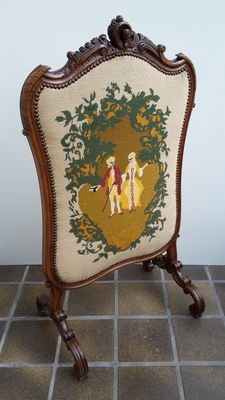 Carved walnut summer fireplace screen in Louis XVI style with embroidery - France - ca. 1880