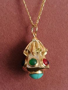 Original Oriental  Retro style pendant with stones of different colours. 1950, a unique hand-crafted item. No reserve price.