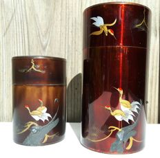 Two lacquer tea canisters - Japan - second half 20th century