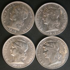 Portugal - 4 coins of 50 cents, silver - 1912, 1913, 1914, 1916 - Lisbon