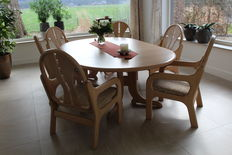 Designer unknown - solid ash, oval dining room set.