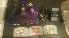 Nintendo 64 Purple with 3 games