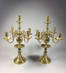 A set of copper 5-light candelabras - Holland - second half 19th century