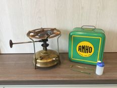 Rare brass ANHO cooker camping stove nr 148 in original tin box