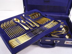 Solingen cutlery 71 items in the case, 18/10 steel cutlery, 23/24 carat hard gold plated