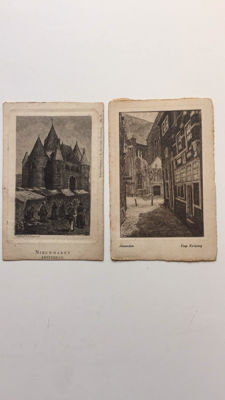 lot with 9 etchings, 8 of which are Amsterdam