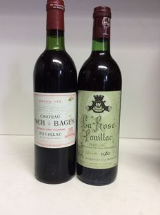 1979 Chateau Lynch-Bages Grand Cru Classe, Pauillac & 1980 Chateau La Rose Pauillac, France – 2 bottles, 0.75 L.