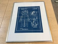 Assorted - blueprint patent application LEGO mini figure in frame - engraving on blue plastic - reproduction