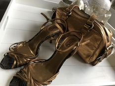 Lot of 2:  New, never worn Dolce & Gabbana sandals and matching handbag.