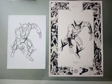 Mitton, Jean-Yves - original plate + pencil sketch - Wolverine