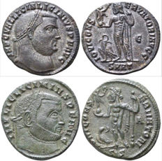 Roman Empire - 1. Licinius I AD 308-324. Heraklea Follis Æ   /   2.Licinius I AD 308-324. Siscia Follis Æ