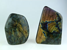 Pair of large Labradorite free-forms - 130 and 105mm - 1.8kg  (2)