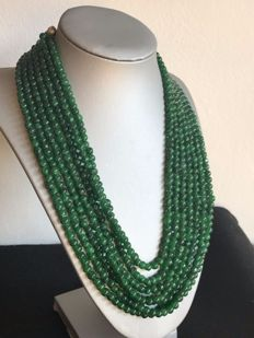 Necklace with seven strands of emeralds, 644.11 ct