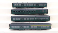 """Märklin H0 - 43530 - 4-piece carriages set type """"M2"""" of the NMBS"""