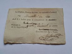 Netherlands - Gorinchem Recepisse approx. 1795 - 10 livres or 12 bottles of wine