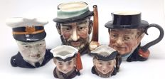 5x Toby jugs rare Churchill 1930's Berwick from estate clearance