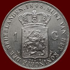 The Netherlands – 1 guilder 1848 Willem II – Silver