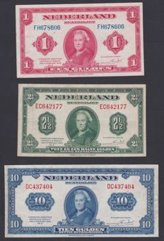 Netherlands - 1, 2 ½, and 10 guilders 1943 - 3 coin notes Wilhelmina