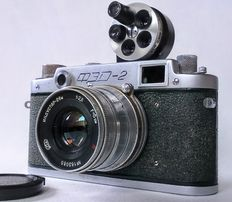 Fed-2 (Type B4), Green Rangefinder + Industar-26M & bag and a Turret ViewFinder 24x36 + storage case, leather bag