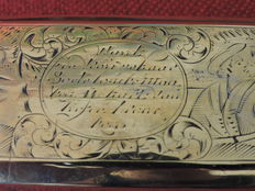 Engraved brass and copper tobacco box-Netherlands-circa 1780