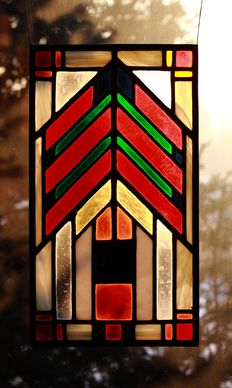 """Original stained glass panel with geometric shapes """"Prairie 01"""""""