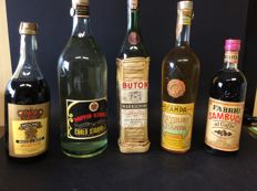 5 Old bottles from the 1950s & 1970s - Italo-Svizzera & Carlo Stampa & Buton & Fabbri